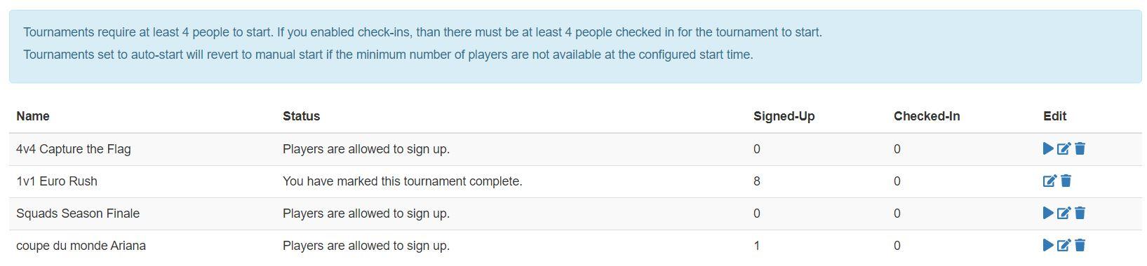 Active Tournaments