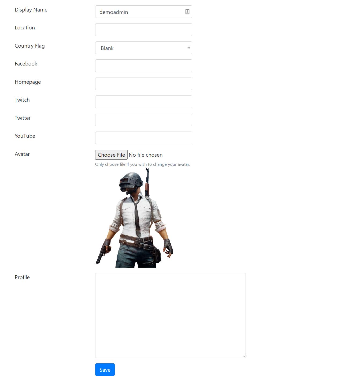 Player's Edit Profile