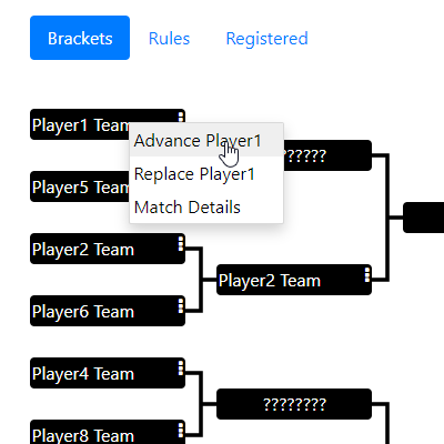 Single elimination brackets.